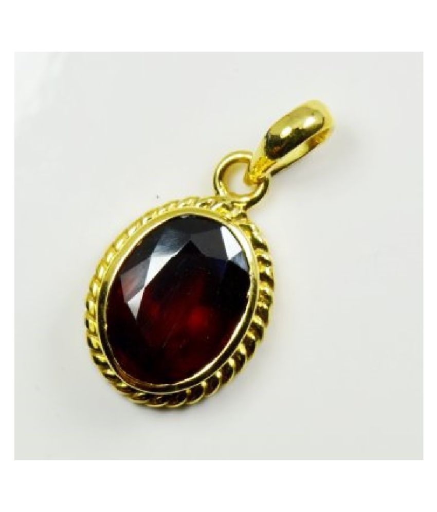 10 Ratti Gold Plated Original Hessonite (Gomed)  Pendant Lab Certified Stone by KUNDLI GEMS\n
