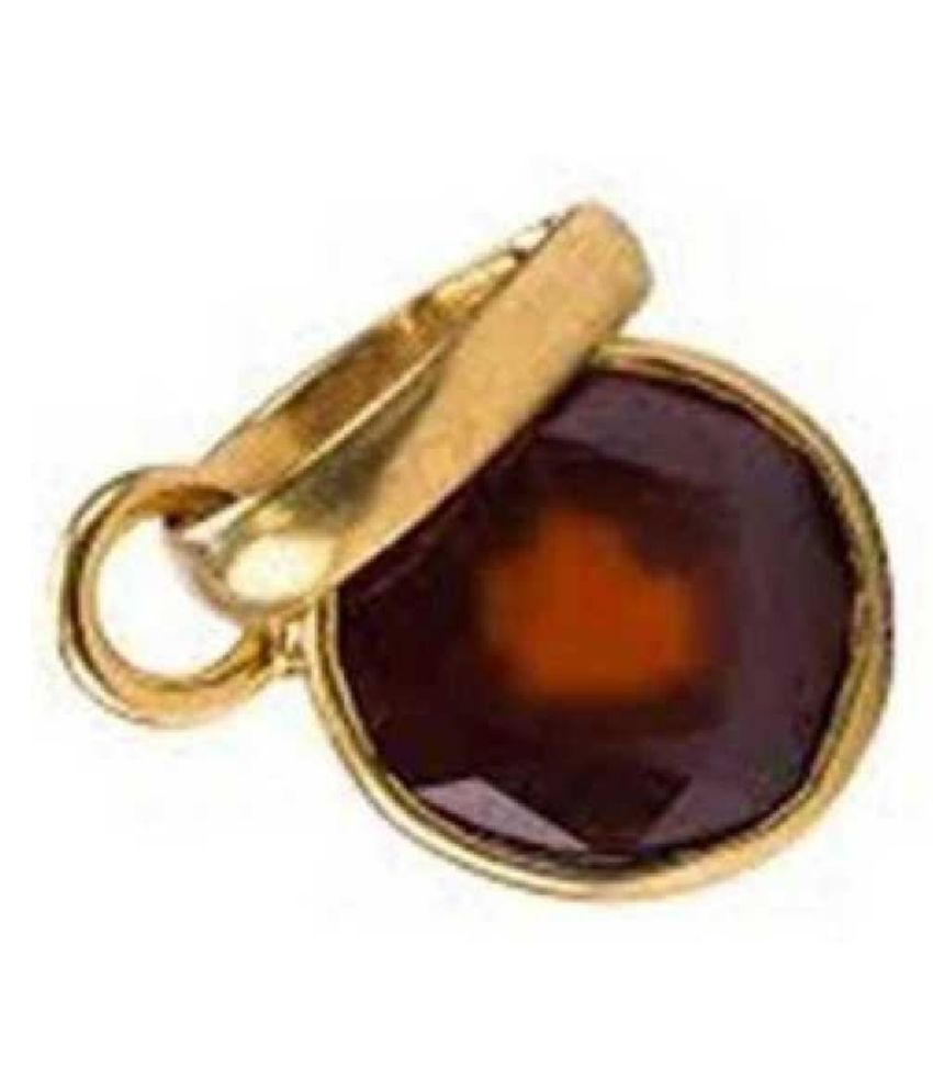 9.25 Carat 100 Original Certified Stone Hessonite (Gomed) Gold Plated Pendant By KUNDLI GEMS