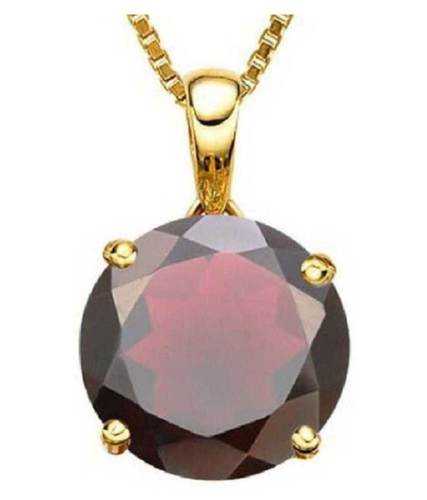 9.25 Ratti Hessonite (Gomed)  pure Gold Plated Pendant for Unisex by  KUNDLI GEMS\n