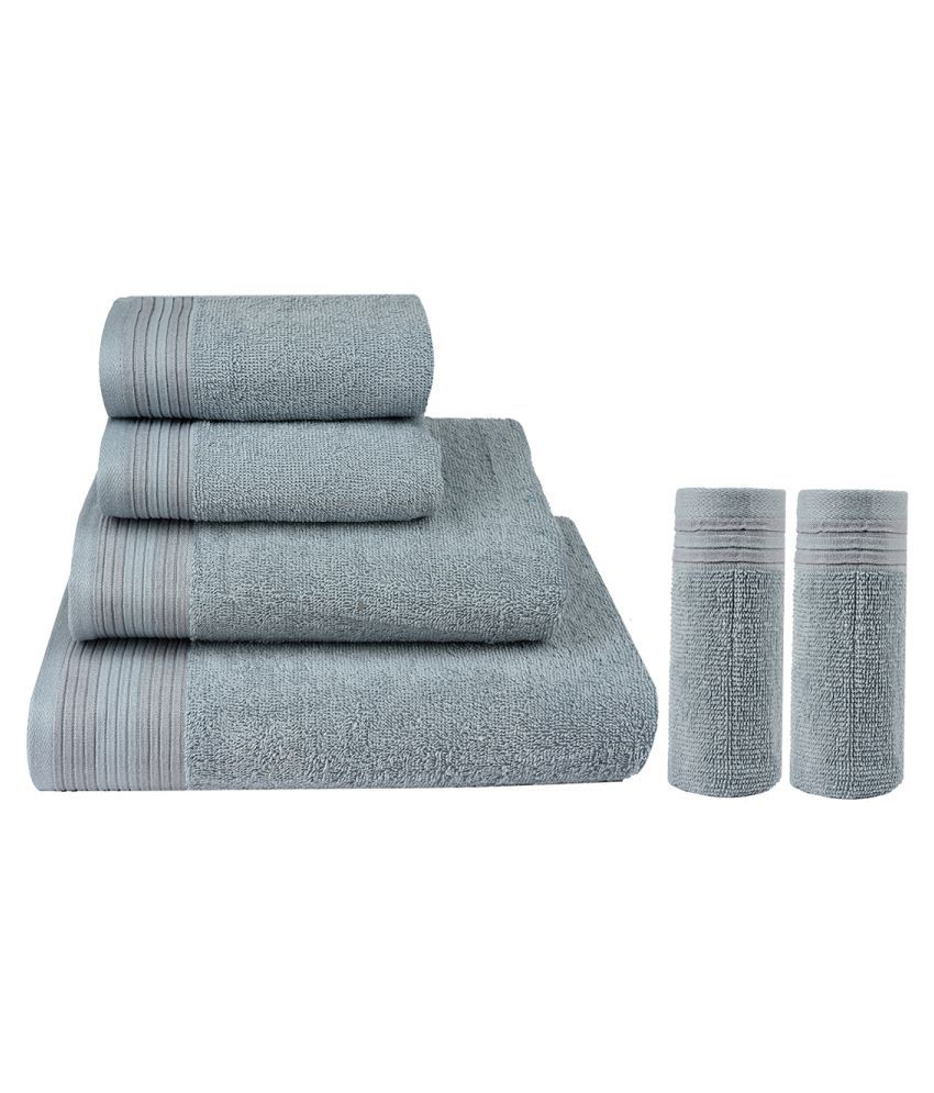 Casa Copenhagen Set of 6 Cotton Bath + Hand + Face Towel Set Gray