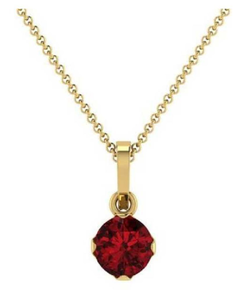 Natural & Unheated Stone 10 Ratti Hessonite (Gomed) Gold Plated Pendant by KUNDLI GEMS