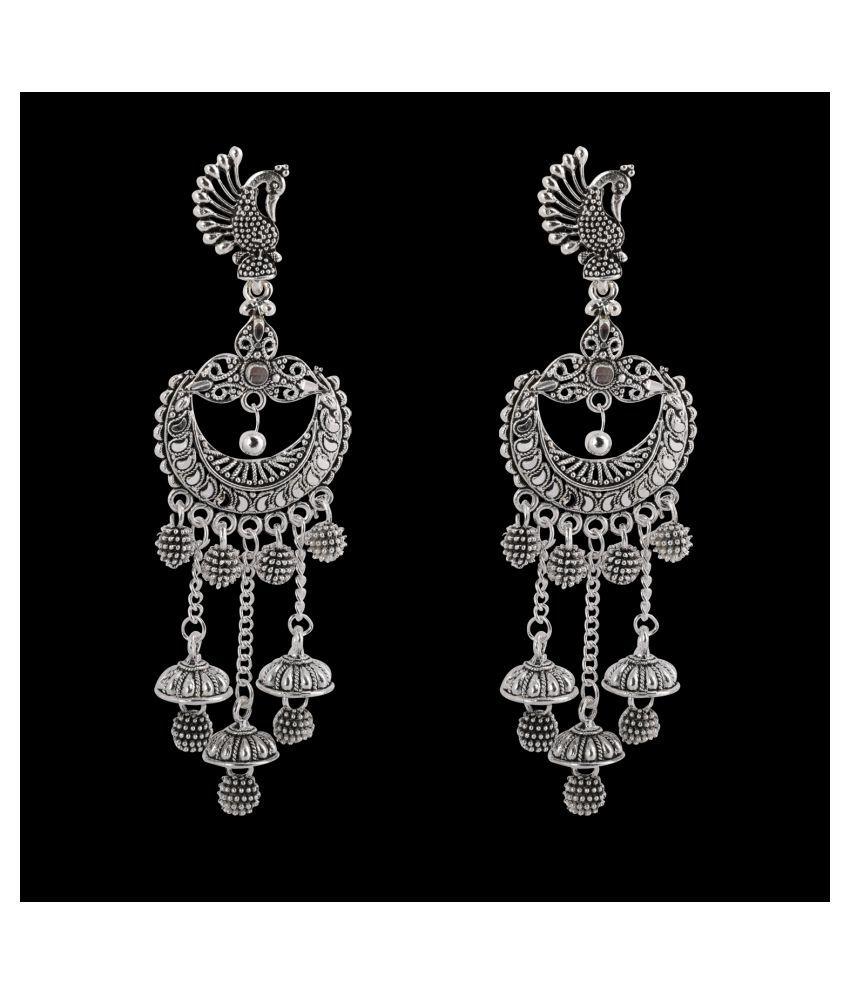 SILVER SHINE  Glitzy Peacock Multi Dangle  Jhumki Earrings for Women