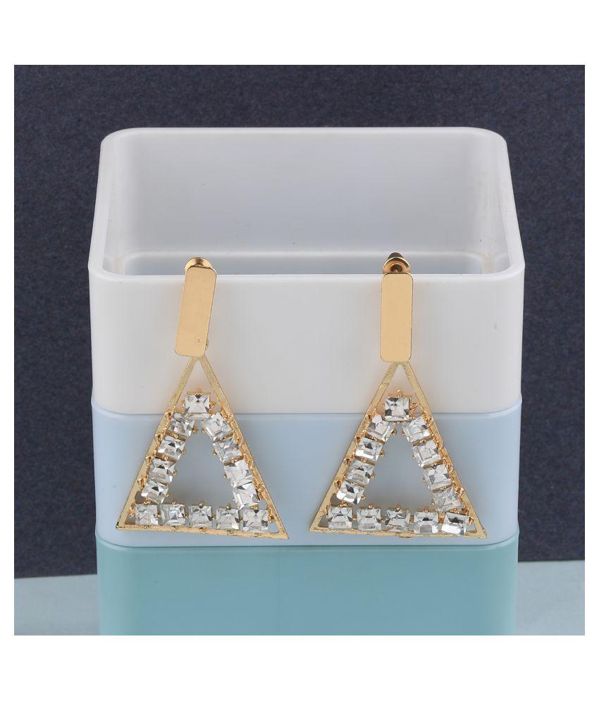 SILVER SHINE  Gold Plated Charm Diamond Dangle Earring For Women Girl