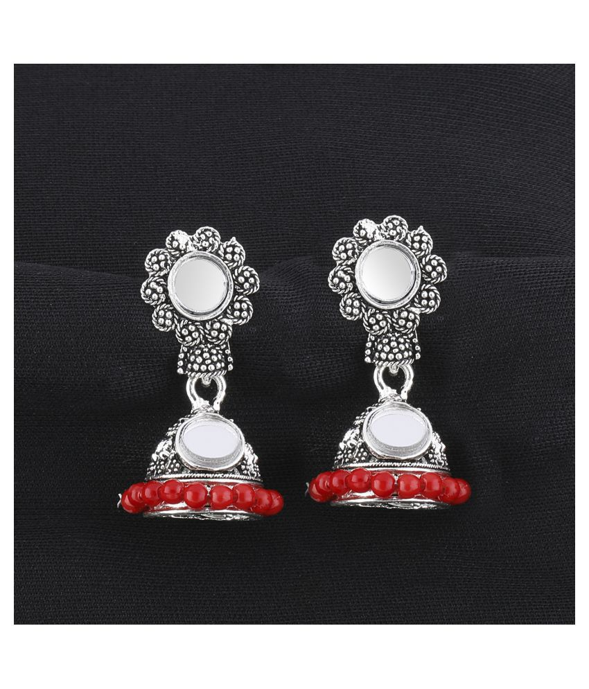 SILVER SHINE  Lovely Red Mirror with Beads Jhumki Earrings