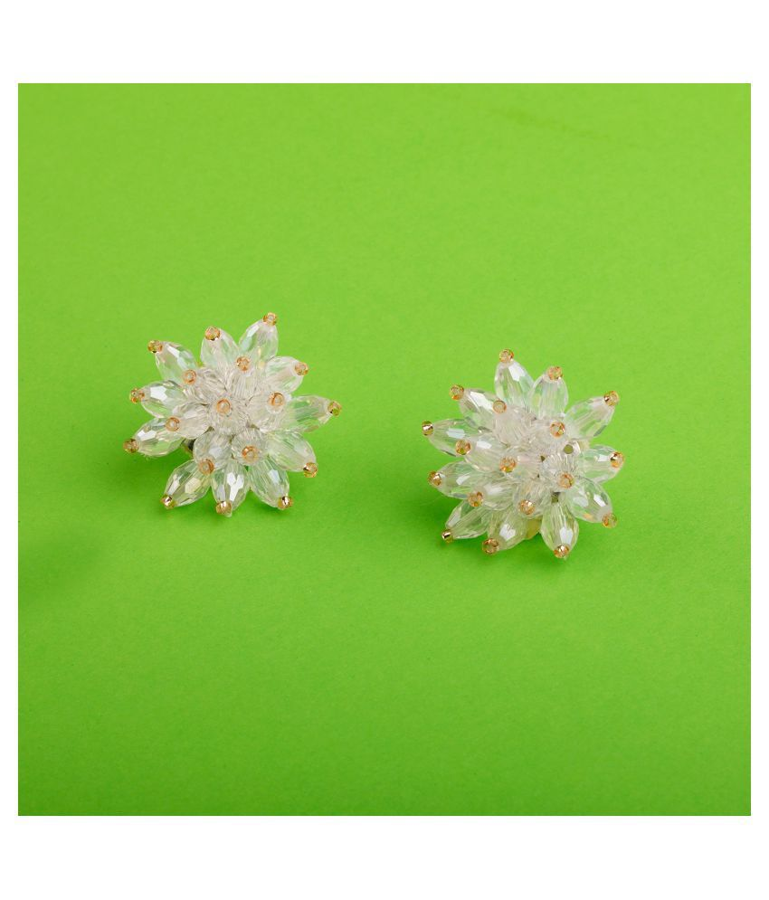 SILVER SHINE  Pretty White Handicraft Stud Earring Beads For Girls And Women