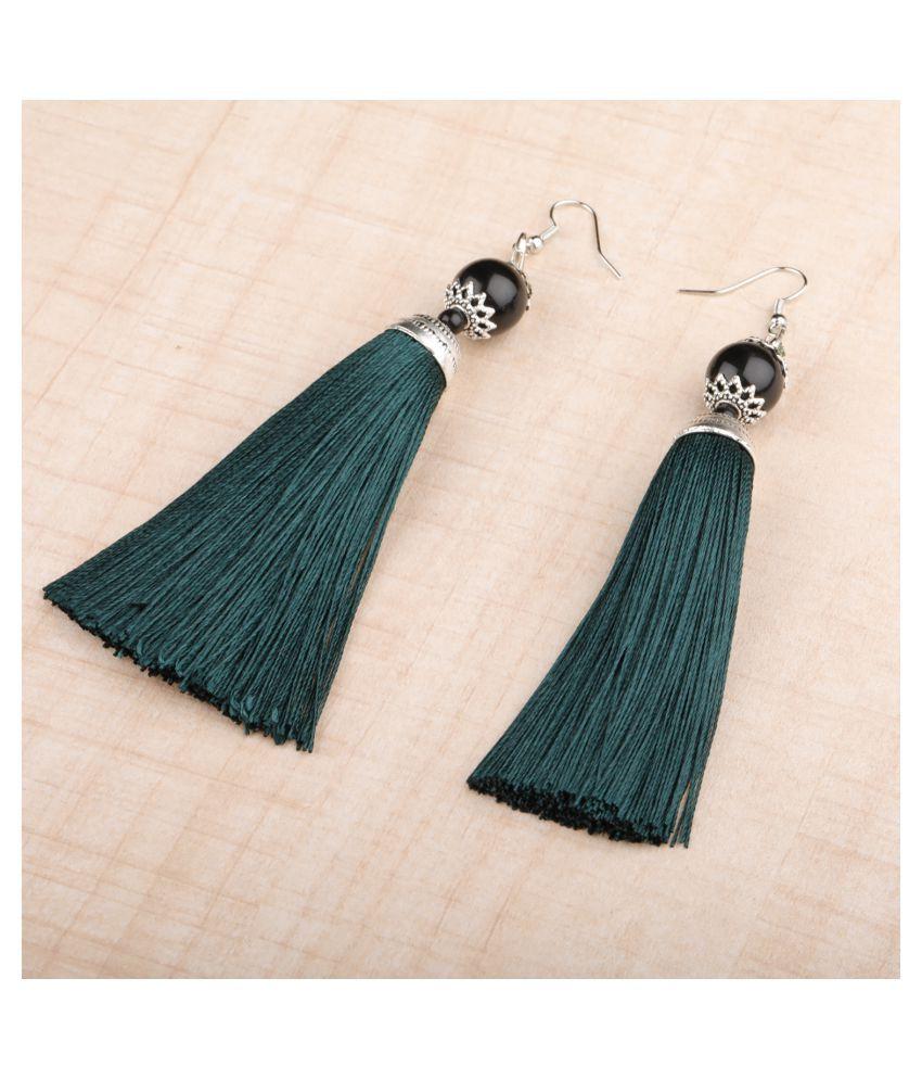 SILVER SHINE  Shimmering Green Long Thread Tassel Earrings for Women