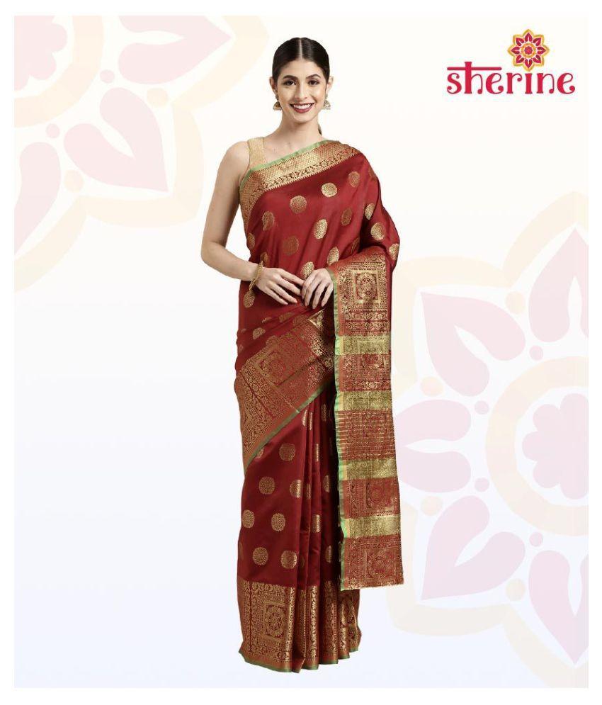 Sherine Maroon Saree with Blouse Piece