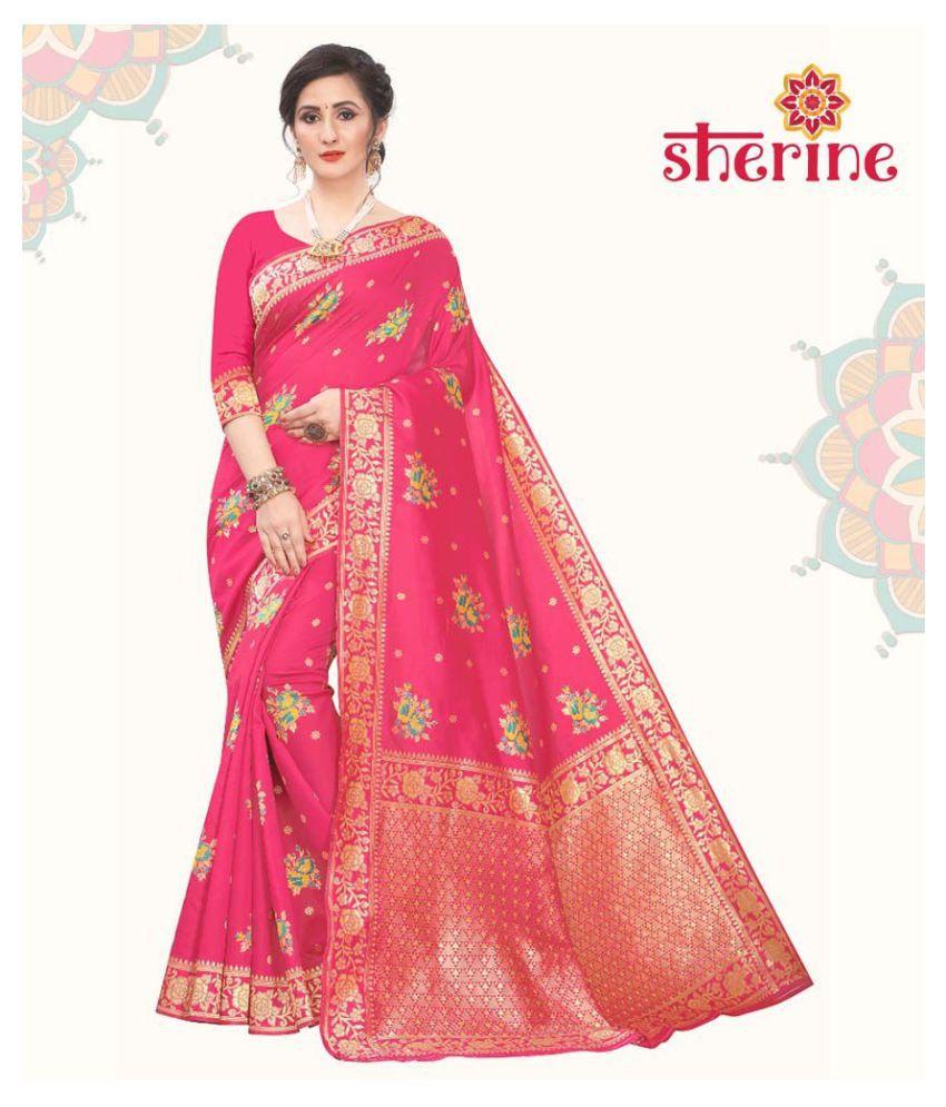 Sherine Pink Jacquard Saree