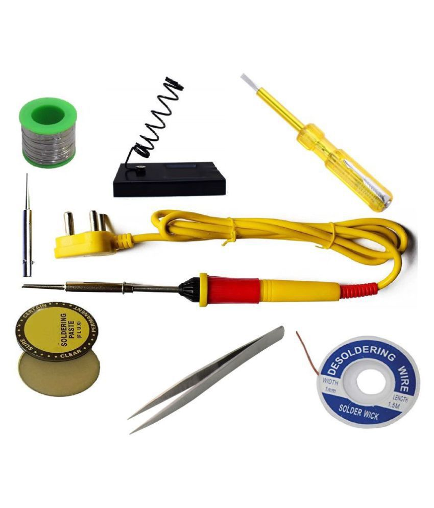 Ukoit (8in1) High Quality 25W Soldering Kit including Soldering Iron, Soldering Wire(5m), Flux, Iron-Stand, Pointed Bit, D-Wick, Tester and Tweezer