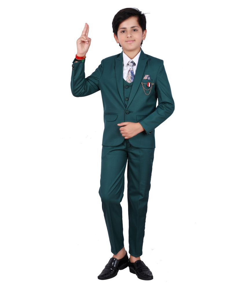 Fourfolds 5 Piece Coat Suit with Shirt Pant Blazer & Tie for Kids & Boys_FS122