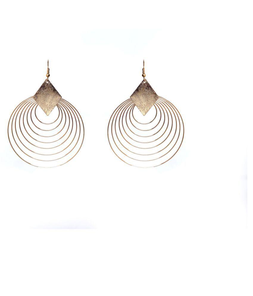 Meenu Abhushan Beautiful Gold Hanging Alloy Stone Design Partywear Earring for Women and Girls