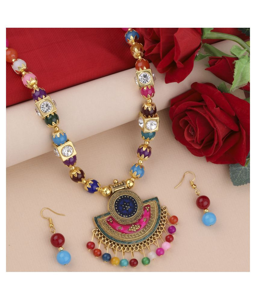 Silver Shine Alloy Multi Color Contemporary Contemporary/Fashion Antique Necklaces Set
