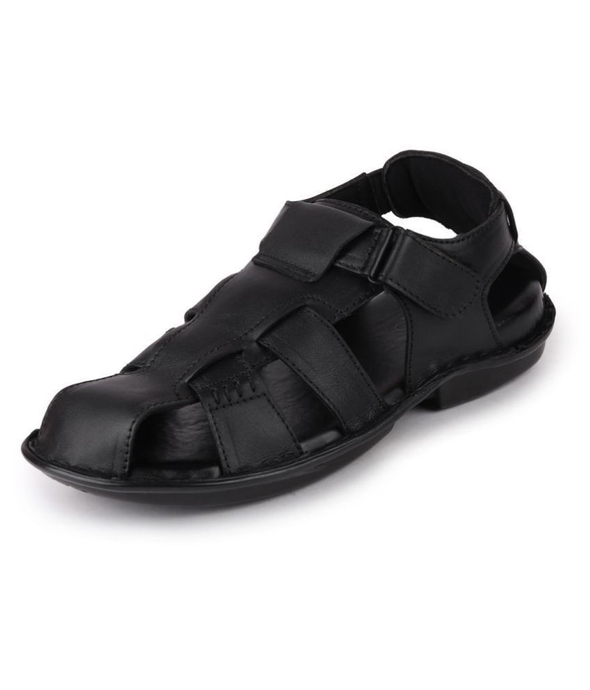 Fausto Black Leather Sandals