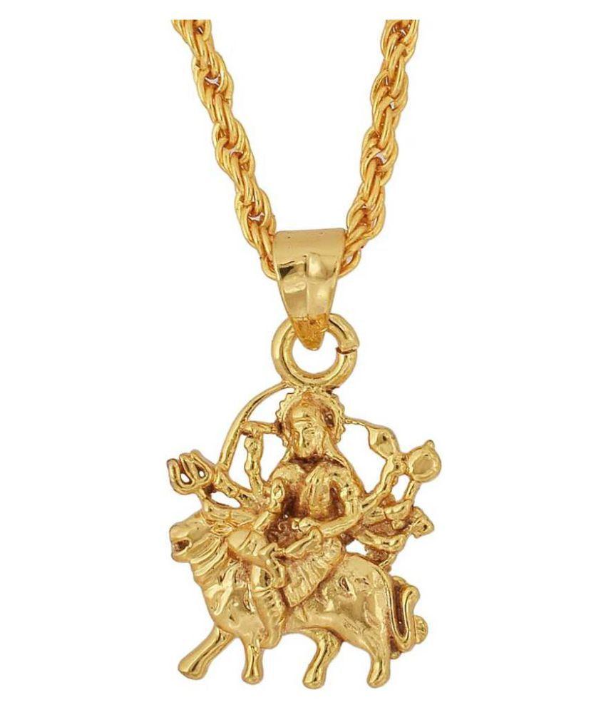 Kundli Gems - Gold Plated Maa Durga Sherawali Pendant Without chain  for Men &b Women