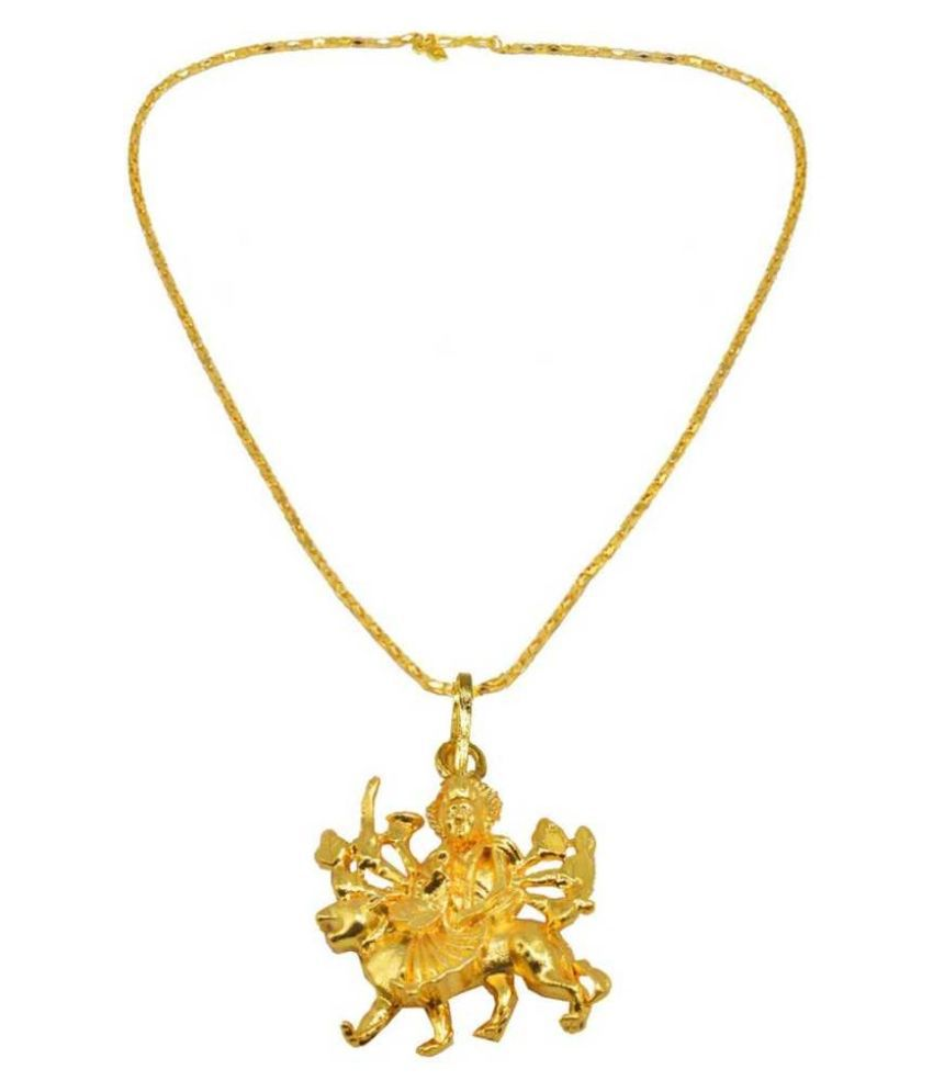 Kundli Gems - Maa Durga Sherawali Religious Gold Plated  Pendant Without  Chain For Women & Men