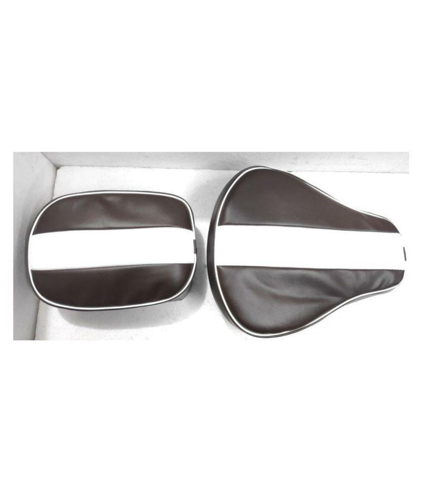PURE BIKING Seat Cover Fancy Brown & White Single Patti For Royal Enfield Classic , Classic Chrome , Classic Desert