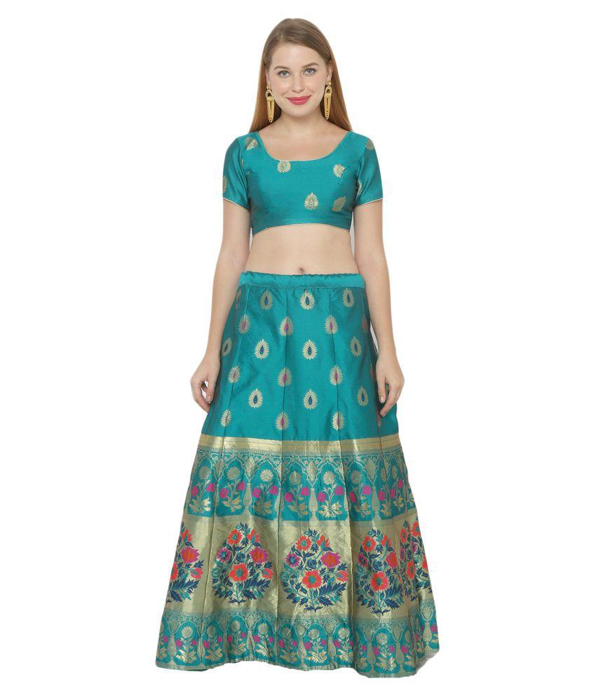 Salwar Studio Blue Silk Blends Unstitched Semi Stitched Lehenga