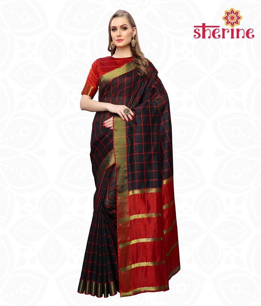 Sherine Black Chanderi Saree