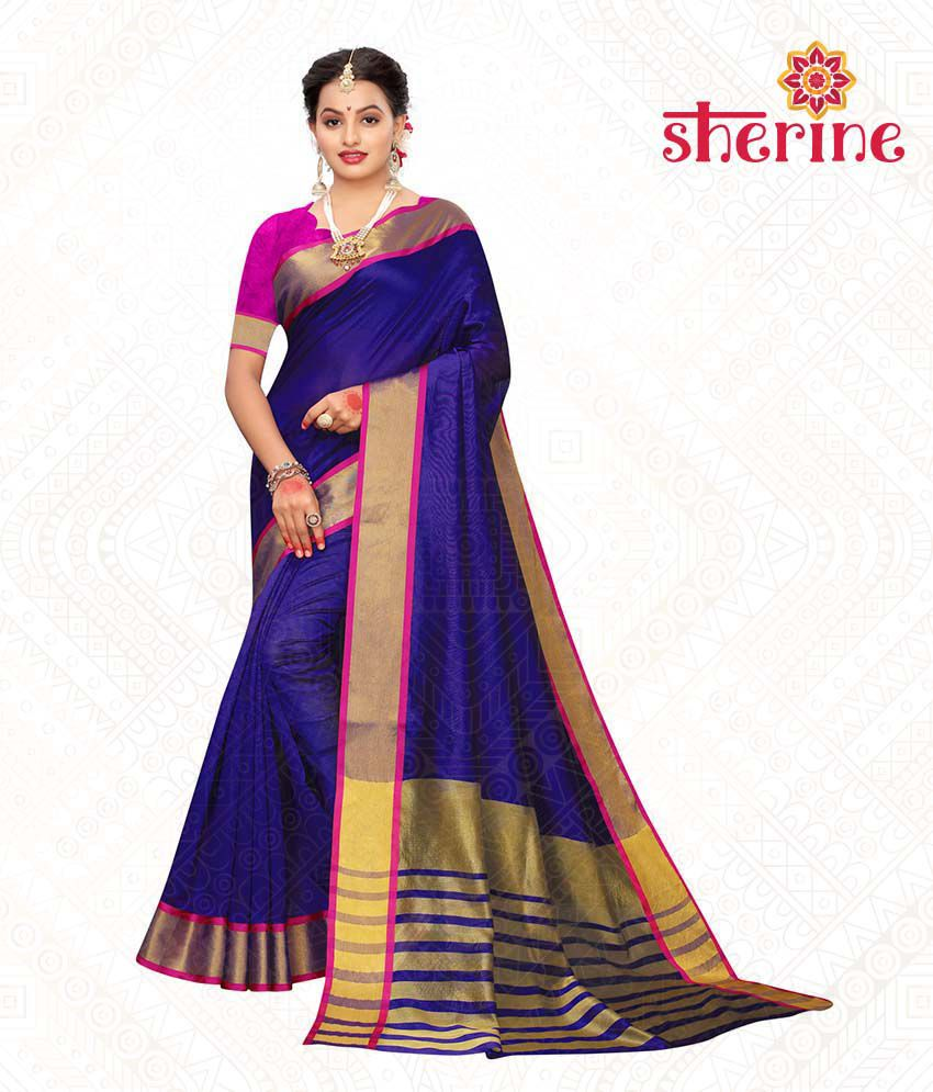 Sherine Blue Chanderi Saree with Blouse Piece