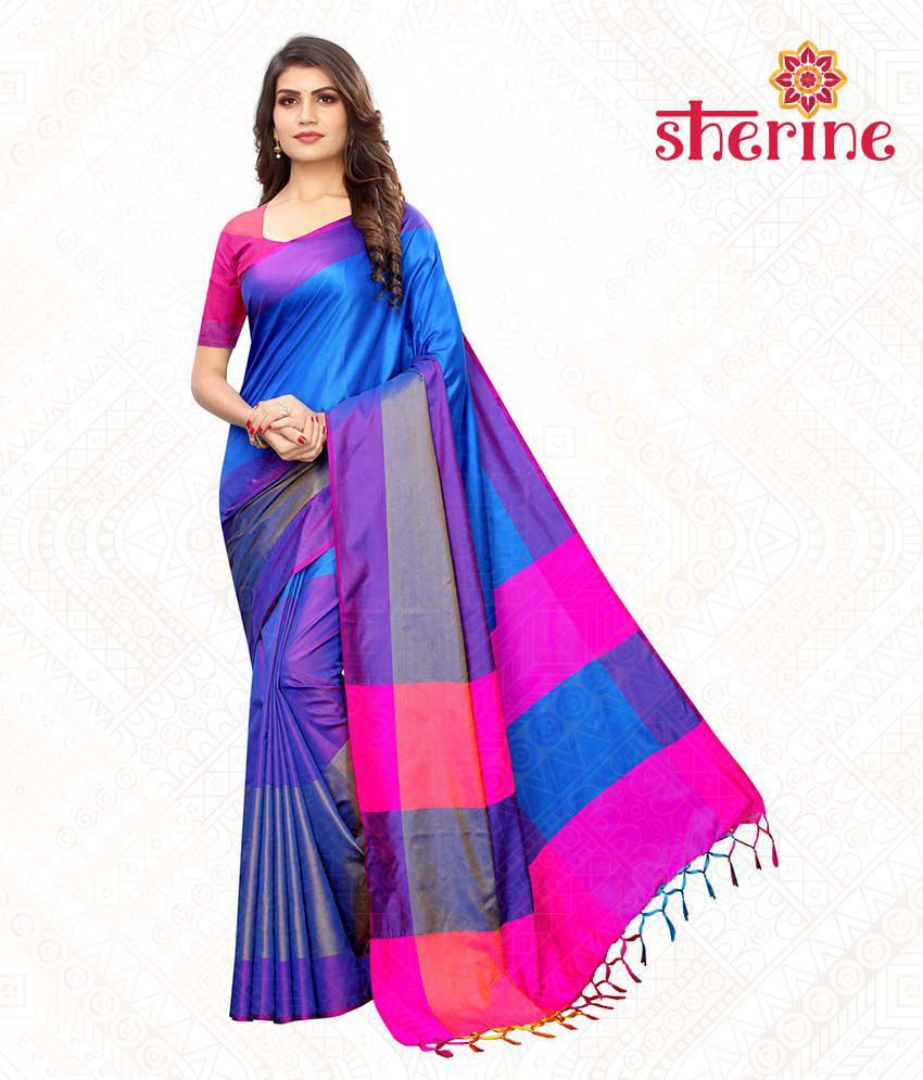 Sherine Blue Color Block Saree with Blouse Piece