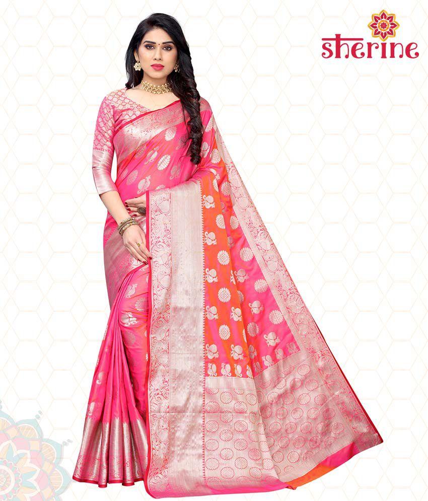 Sherine Pink Poly Silk Saree