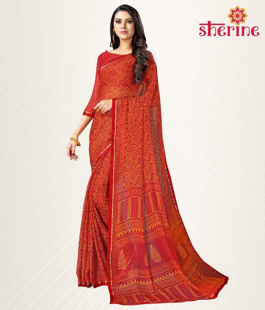 Sherine Red Chiffon Saree