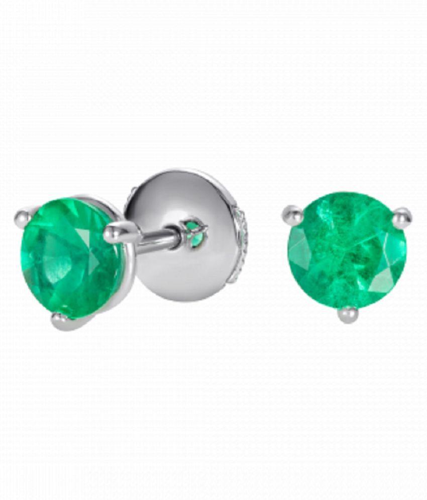 KUNDLI GEMS - Pure Silver & Original Green Emerald Stone Earring Panna Earrings For Women