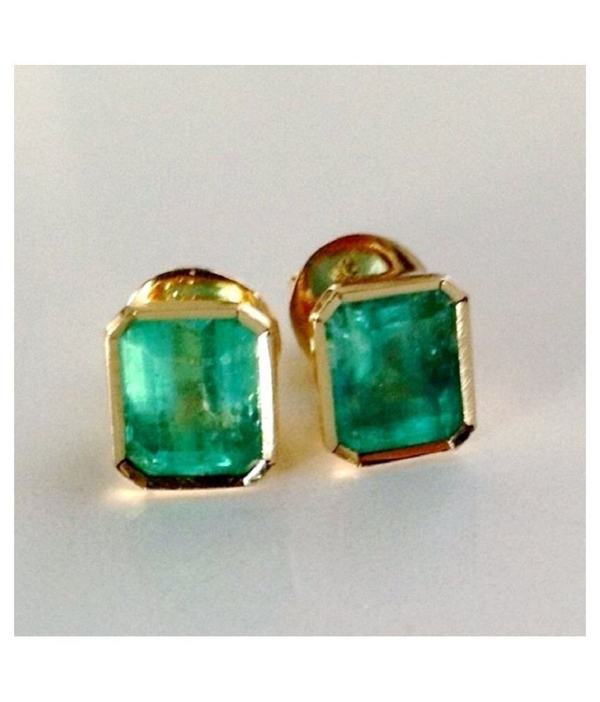 Kundli Gems -Gold Plated Earring With  Unheated Stone Green Emerald Stud Earrings Certified Stone panna Earring For Women