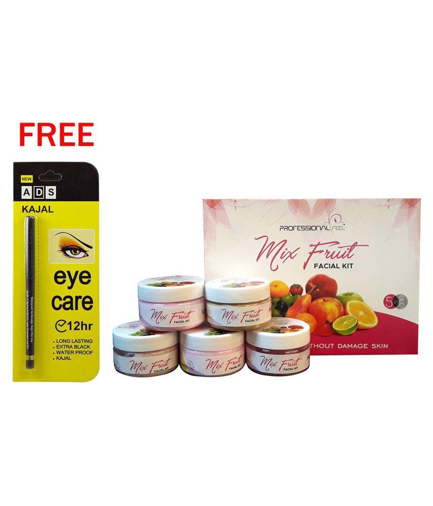 Professional Black Kajal 12Hr & Mix Fruit Facial Kit 250 g Pack of 2