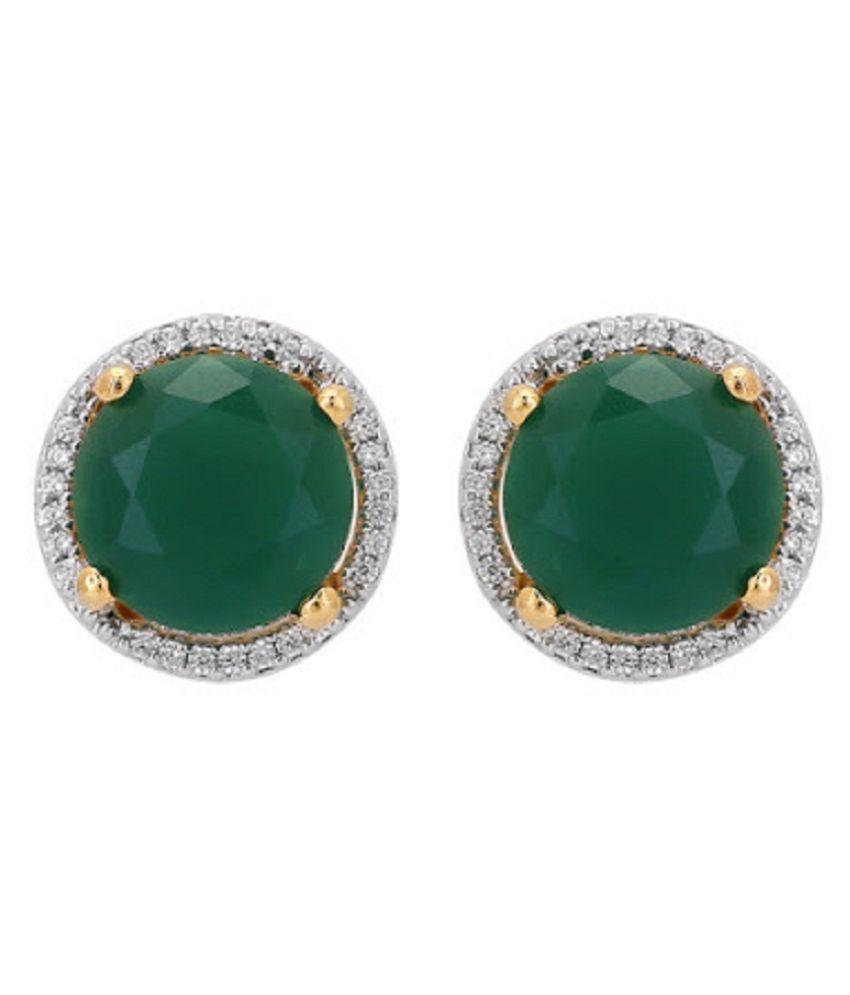 Pure Sterling Silver Panna Stud Earrings for Women & Girls by  RATAN BAZAAR