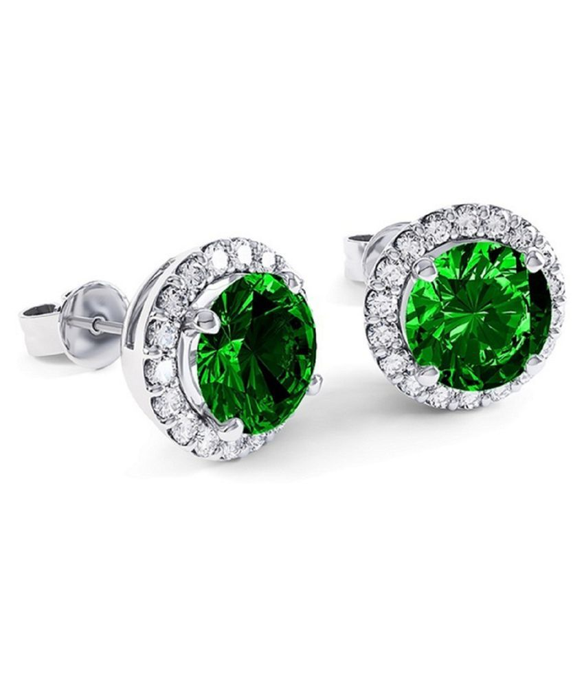 RATAN BAZAAR - Silver Green Emerald Stud Earrings for Womens & Girls