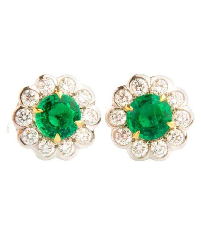 RATAN BAZAAR - Sterling Silver Emerald Stud Earring For Girls & Women