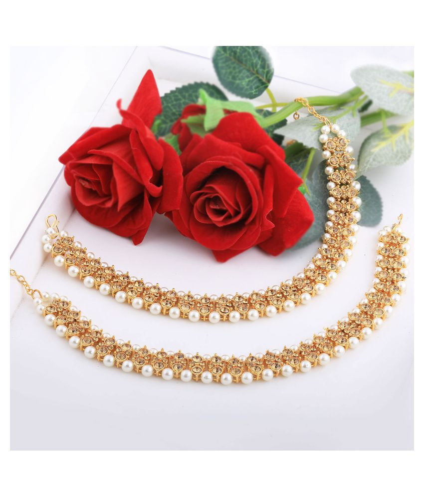 SILVER SHINE Gold plated Attractive Designer kundan Anklet for Women And Girl