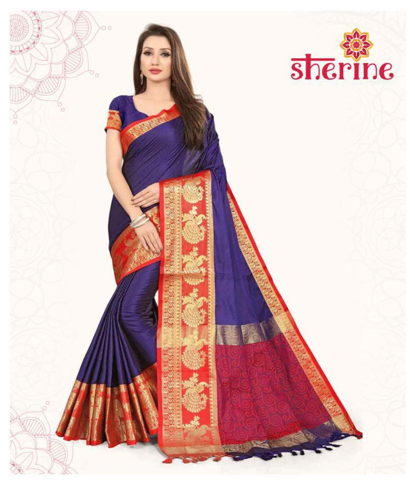 Sherine BlueJacquard Border Saree