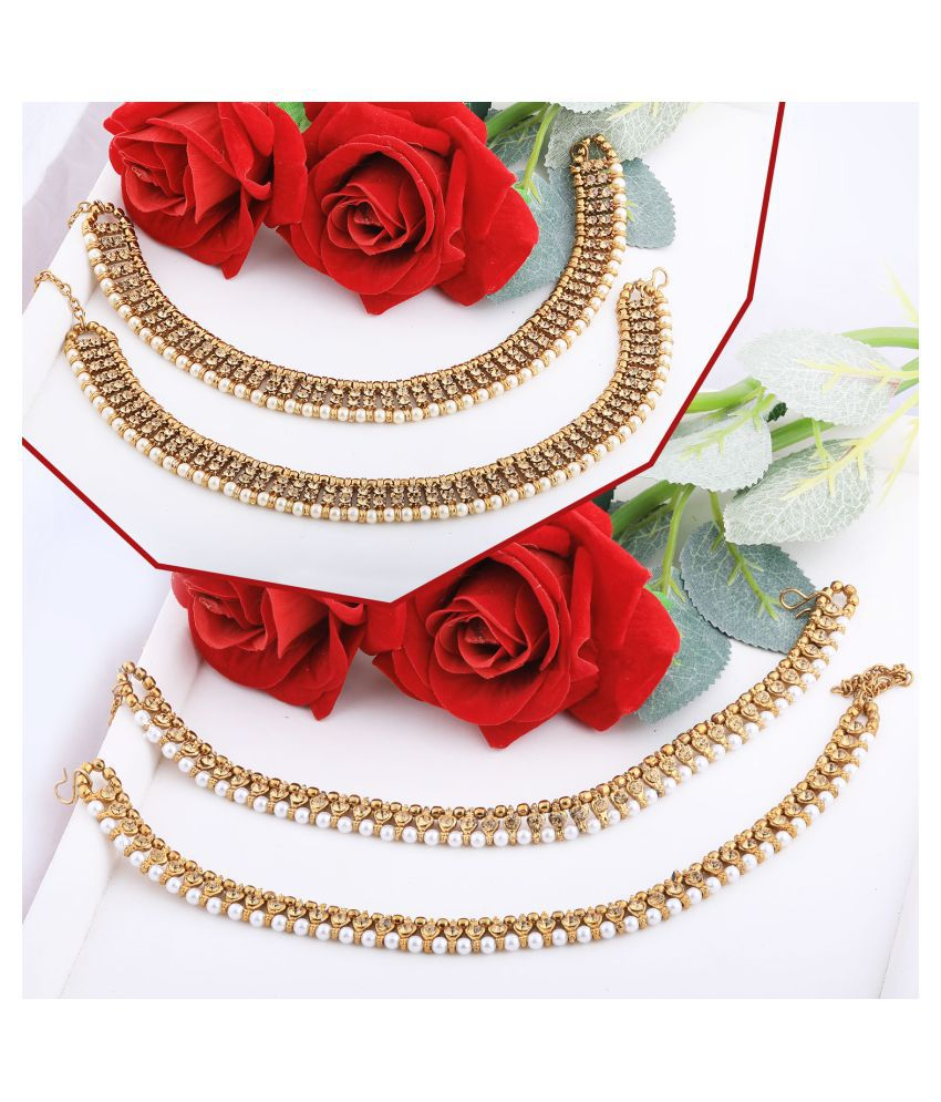 Silver Shine Designer Traditional  Anklet Wedding Jewellery  For Women Girls Set-2