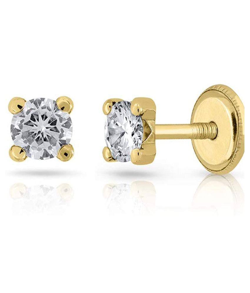 Kundli Gems - Studs Collection  Gold Plated American Diamond Stud Earrings for Women & Girls,