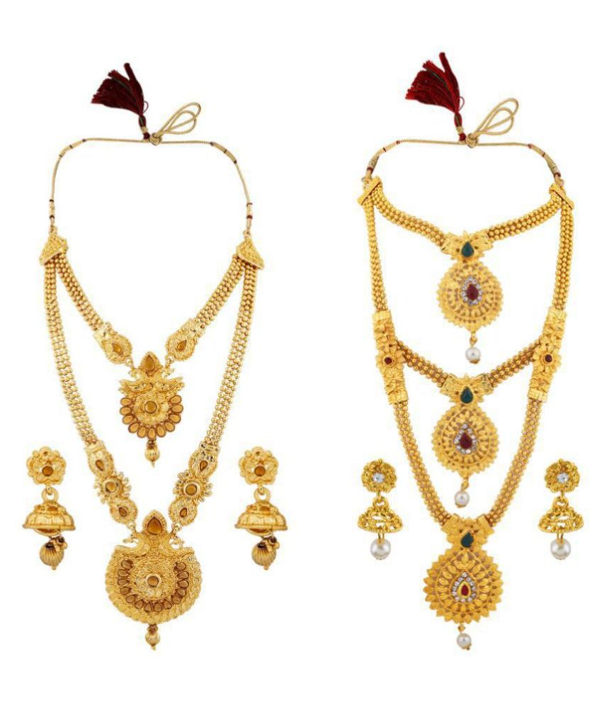 N M CREATION Alloy Golden Contemporary Designer Gold Plated Necklaces Set