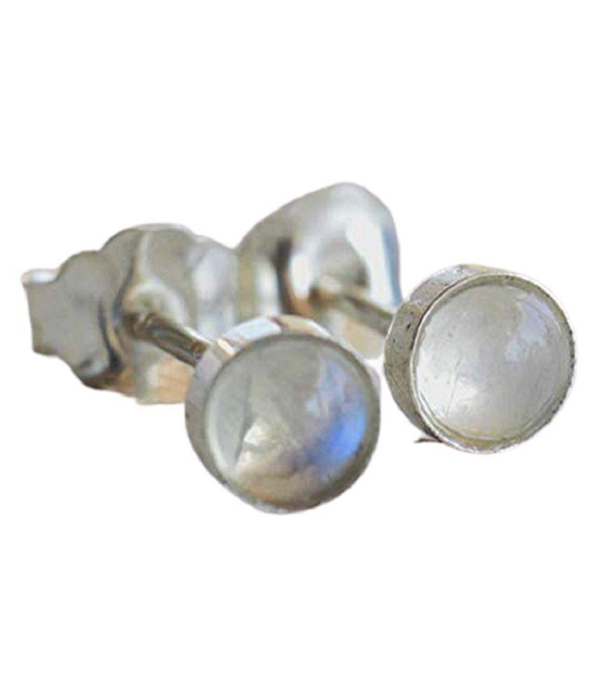 Pure Silver  MOONSTONE Stud Earrings for Womensby Ratan Bazaar
