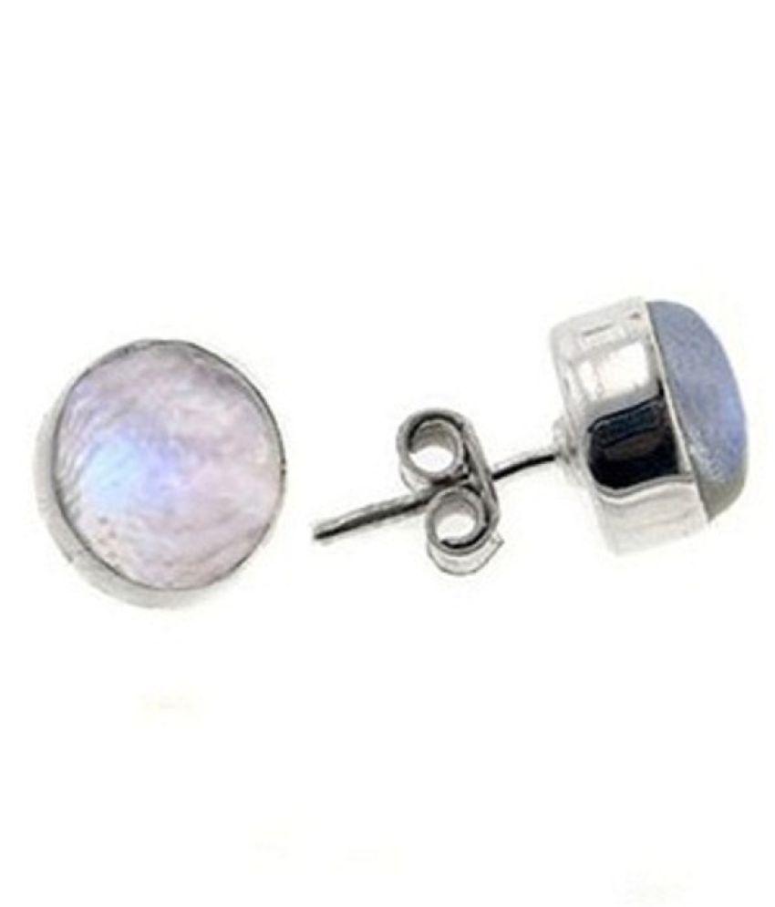 Sterling Silver MOONSTONE Stud Earring For Girls & Women by Ratan Bazaar
