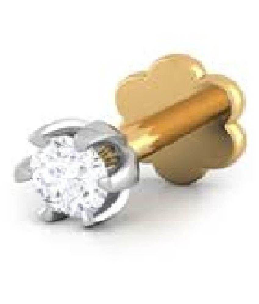 American Diamond Stone Nose pin Original & Certified Gemstone Diamond Silver nosepin for Women & Girl by Kundli Gems