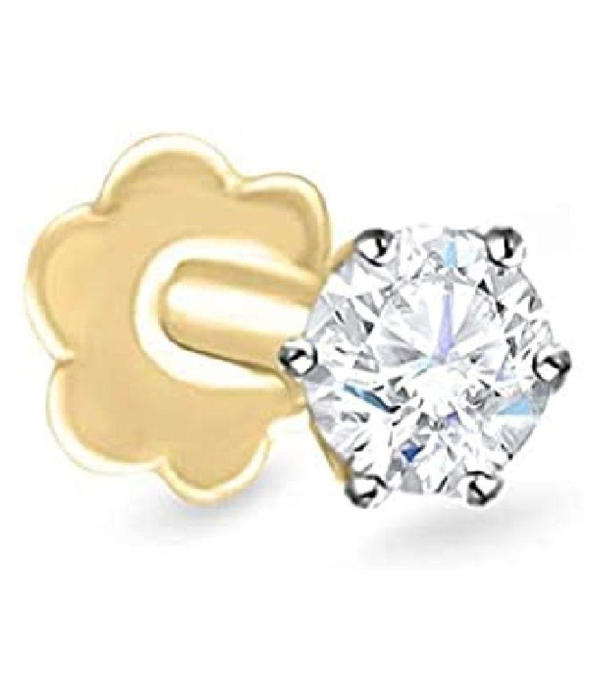 American diamond nose pin certified & Gemstone Gold Plated nosepin  for girls & women by Kundli Gems