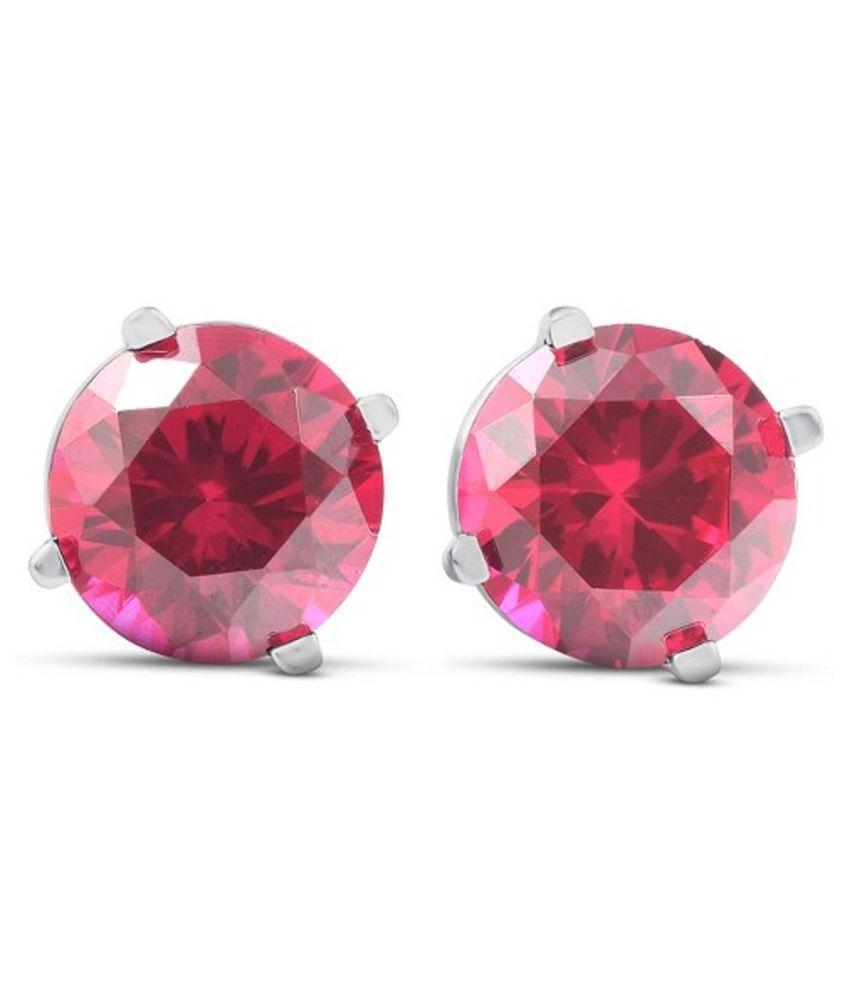 KUNDLI GEMS  - Ruby(Manik) Stud  Silver Earrings for Women & Girls,