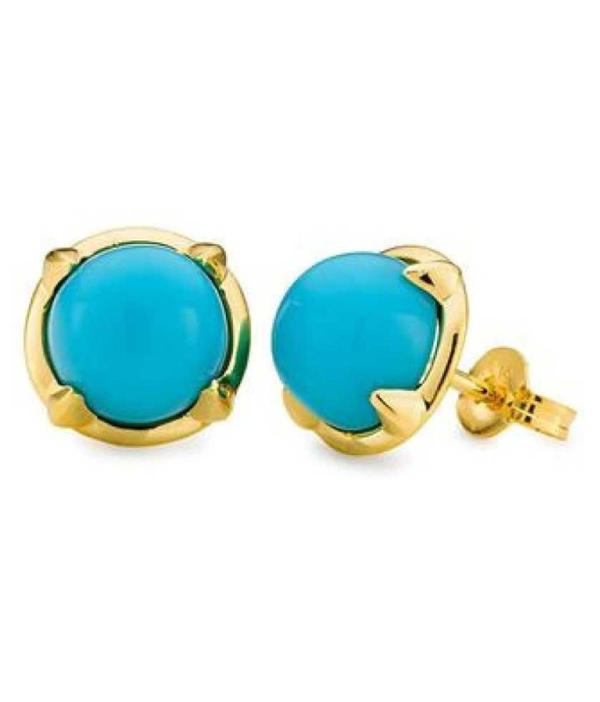 Kundli Gems - Pure Gold Plated Firoza Stud Earrings for Women & Girls
