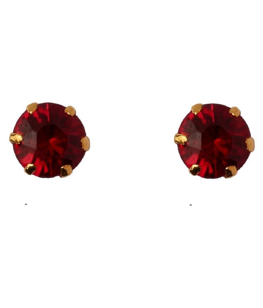 Sterling Silver with Natural Ruby(Manik) stud earrings for girls & Women by  KUNDLI GEMS