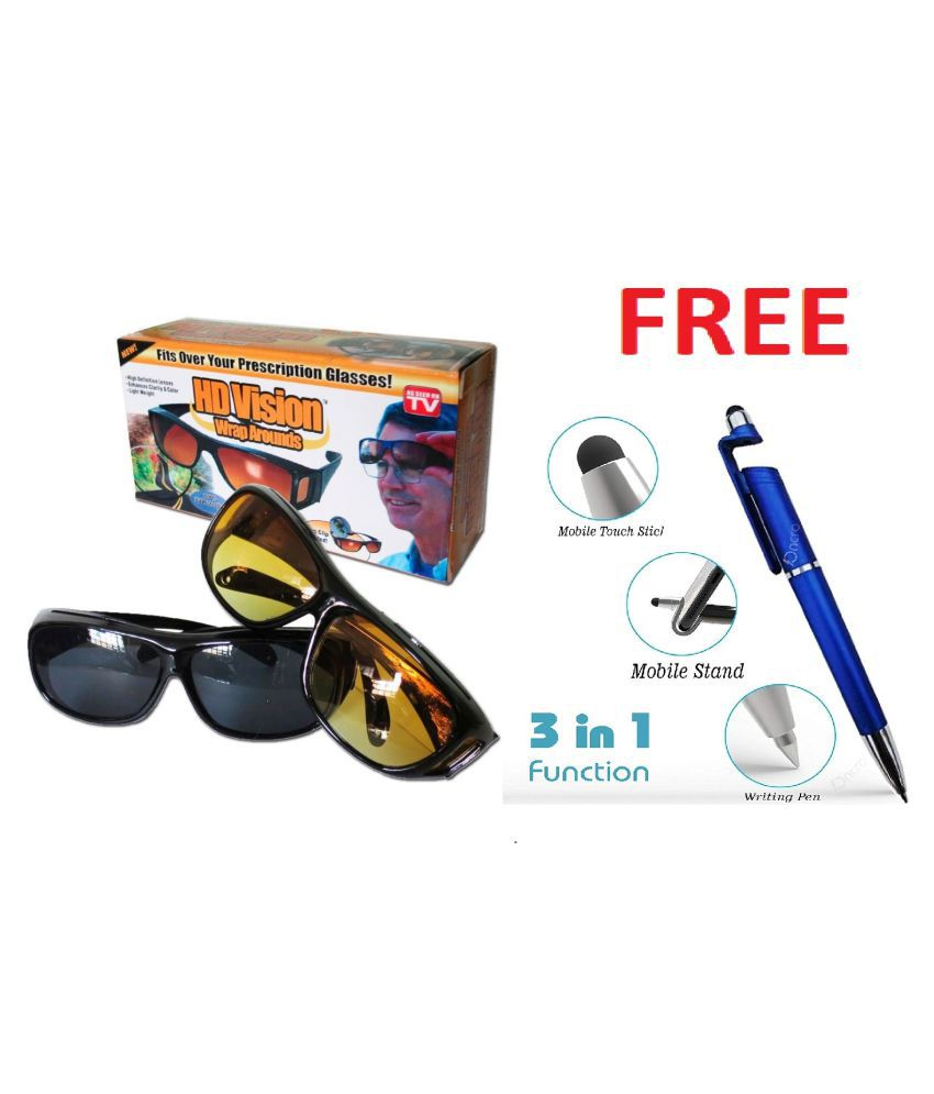 UV Protection HD Wrap Around  & Night Drive Unisex Sunglasses (yellow & Black)  With 3 in 1 pen