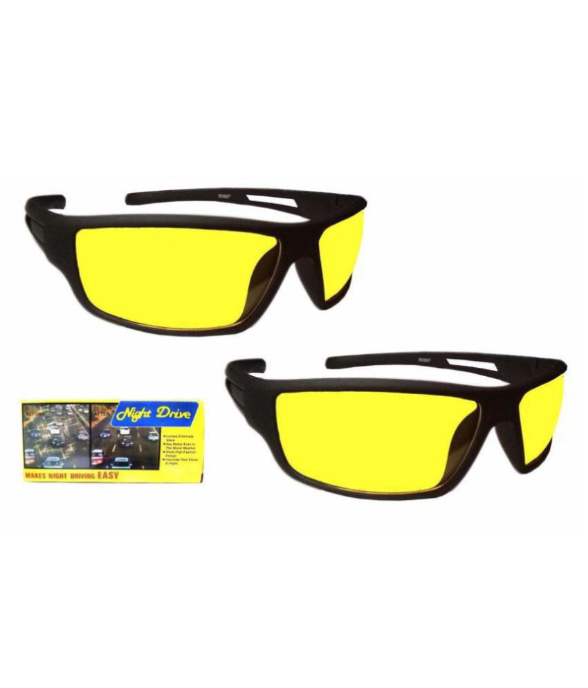 UV Protection Wrap Around  Night Drive Men's and Women's Sunglasses  (Yellow Box Set Of 2)  With 3 in 1 pen