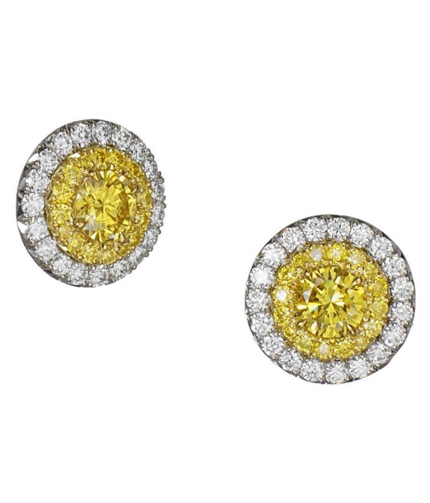 Yellow Sapphire(Pukhraj)  Earrings Silver  Earrings For Women by  RATAN BAZAAR