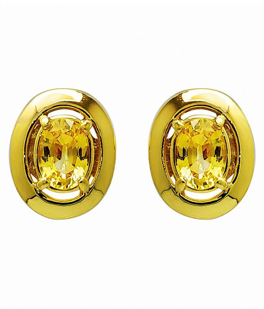Yellow Sapphire(Pukhraj) Stud    Gold Plated Earrings for Women & Girls,  by  KUNDLI GEMS