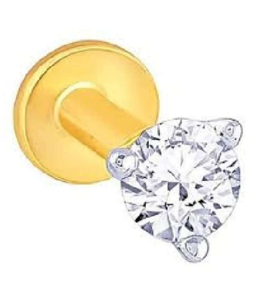 original american diamond stone gold plated nosepin certified & unheated diamond stone gold plataed nose pin for women & girl by Kundli Gems