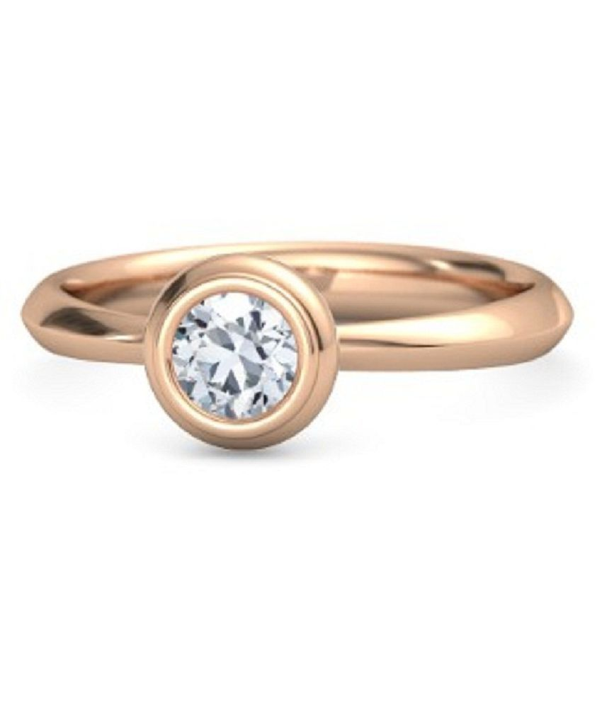 5.25 ratti Natural White Sapphire Stone Gold Plated Ring for Astrological White Sapphire Ring